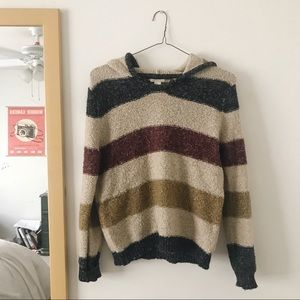 Cozy striped sweater with a hoodie